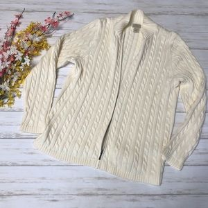 LL Bean Cream Cable Knit Zip Up Cardigan Sweater